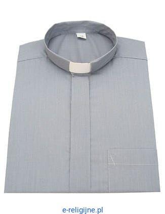 c4e01fc8c Koszula kapłańska pod koloratkę szara z długim rękawem e-religijne.pl