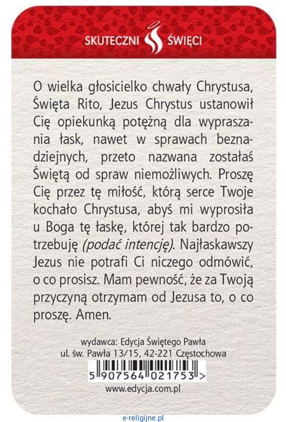 święta Rita Plastikowa Karta Z Modlitwą