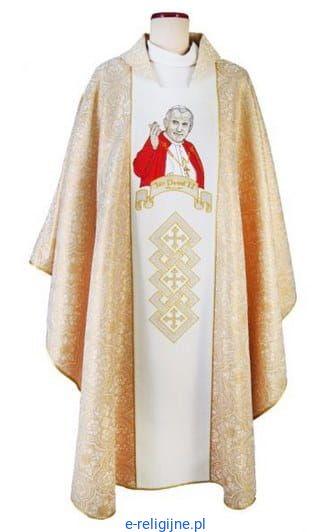 3fdf80ec82 Ornat biało - złoty z haftowanym wizerunkiem Jana Pawła II e-religijne.pl