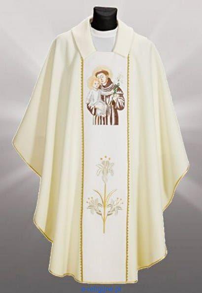 c95d89a3ab Ornat biały z haftowanym wizerunkiem św. Antoniego e-religijne.pl