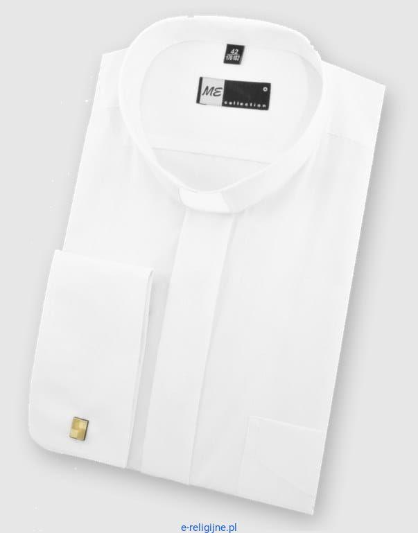 2188afeeb Koszula kapłańska pod koloratkę biała z długim rękawem i mankietem na  spinki. b634b4d22d0c5ce3d2e395779a761b1061128ccc
