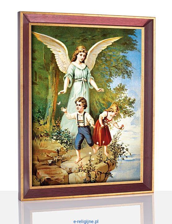 Obraz Anioła Stróża W Ramie 20 X 30 W132 Sklep Dewocjonalia